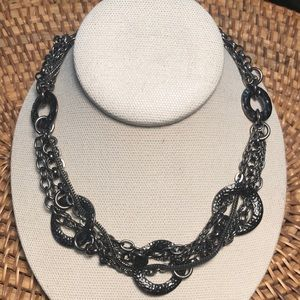 GUN METAL GREY STATEMENT NECKLACE